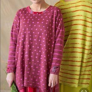 Gudrun Sjoden Brush Linen Tunic Top Stripe Dots